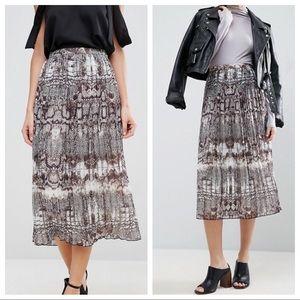 ASOS | Pleated Snakeskin Midi Skirt